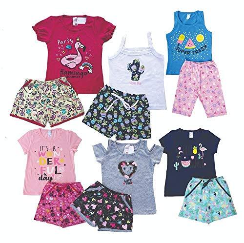 Kit com 6 Conjunto Infantil Menina - Verão - 1 ao 8