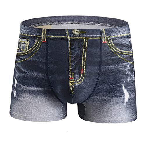 R-Cors String Homme Sexy 3D Boxer Imprimé Hommes Microfibre sous-vêtement sans Couture Shorts Slips Slim Taille Basse Caleçon Jeans Maillots de Bain(A Gris,L)