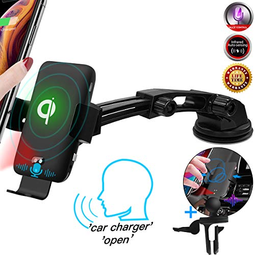 Qi Wireless Car Charger, Voice Activated 10W Fast Charging[Auto Clamping] Phone Holder for Car, Dashboard Air Vent Wireless Car Phone Mount for iPhone 11/11 Pro/11 Pro Max/XS Max,All QI-Enabled Phone