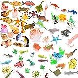 BESTZY 66pcs Animales de Juguete Mini Figuras Marinos Pl├бstico Fauna Submarina Realista para Jugar en el Ba├▒o Fiesta Educativa Mar