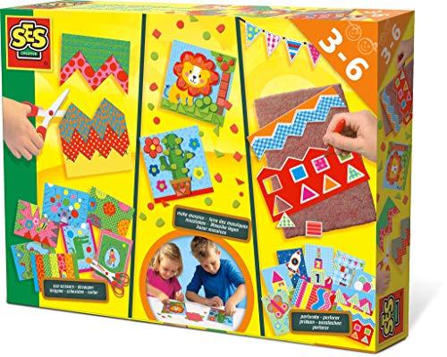 SES Creative Aprendo a Cortar, Hacer mosaicos y perforar SES - Kits de Manualidades para niños (Hoja de Mosaico, Pegatinas, Niño/niña, Niño