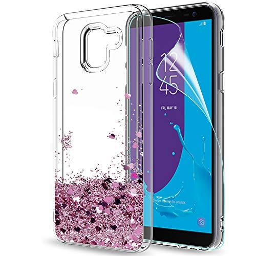 LeYi Compatible with Funda Samsung Galaxy J6 2018 Silicona Purpurina Carcasa con HD Protectores de Pantalla,Transparente Cristal Bumper Telefono Gel TPU Case Cover para Movil J6 2018 ZX Oro Rosa