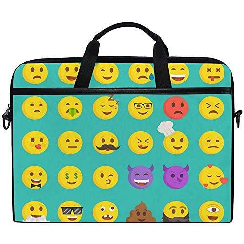 Laptop Sleeve Case,Cute Emoji Emoticon Poop Briefcase Messenger Notebook Computer Bag With Shoulder Strap Handle,14-14.5 Inch