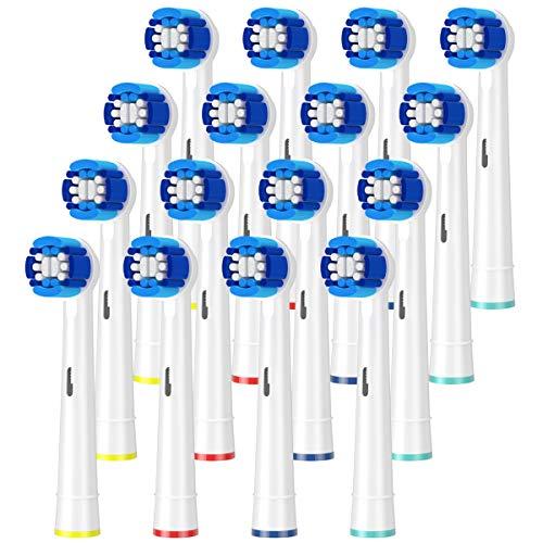 ITECHNIK EB20 Precision Clean Aufsteckbürsten für Oral B Zahnbürste Elektrische GENIUS, Oral B SMART, Oral B PRO, Oral B Vitality Bürstenköpfe Ersatz, Aufsatzbürsten 16er