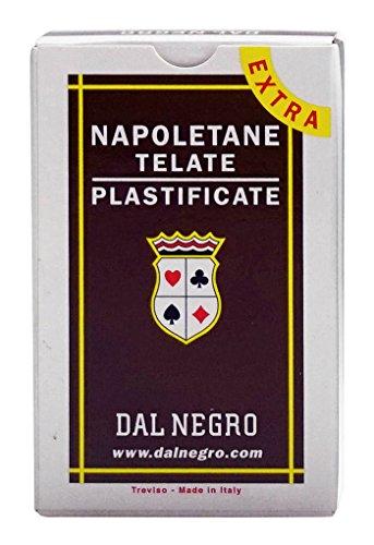 Dal Negro Napoletane 87 Extra 014016 Italienische Spielkarten, braunes Etui, 40 Karten