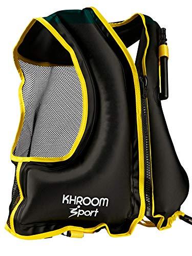 Khroom® aufblasbare Schwimmweste - wiegt nur 400 Gr. - Schwimmhilfe zum Schnorcheln, Kajak und SUP - für Erwachsene (Schwarz)