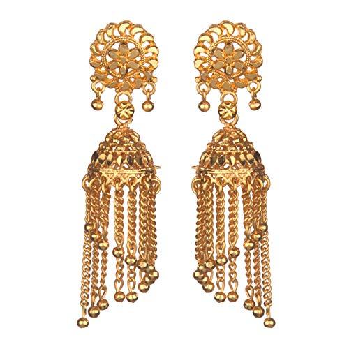 Efulgenz Juego de pendientes colgantes con flecos chapados en oro de 14 quilates, estilo indio de Bollywood