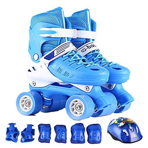 Rolschaats voor tieners, quad rolschaatsen verstelbaar voor kinderen, ademend, drievoudige bescherming veiligheidspads helm voor beginners