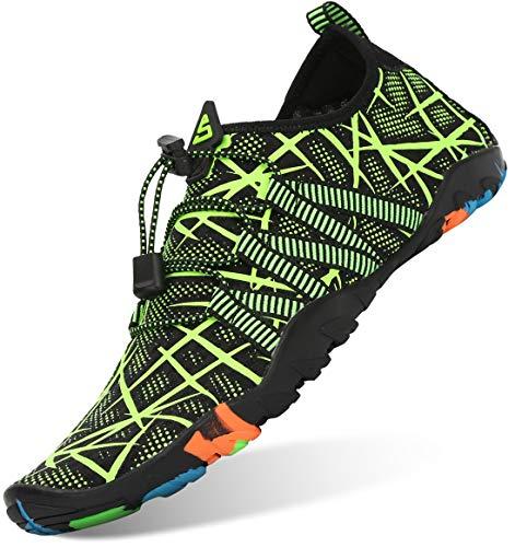Unisex Zapatos de Agua Antideslizante Secado Rápido Natación Playa Surf Escarpines para Hombre Mujer Verde 41