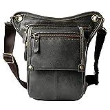 boshiho® para Hombre Piel Auténtica riñonera cintura cinturón gota pierna Cross Over Bag(Grey)
