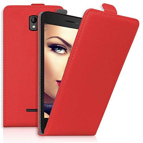 mtb more energy® Flip-Hülle Tasche für Coolpad Porto (E560, 4.7'') - Rot - Kunstleder - Schutz-Tasche Cover Hülle