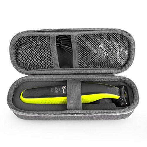 QSHAVE Für Philips Norelco OneBlade QP2520 QP2570 Case Schutz-Hülle Etui Tragetasche (Grau)