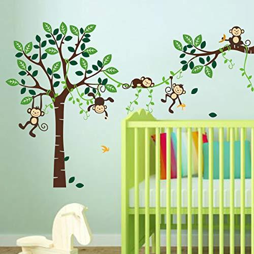 decalmile Wandtattoo Affen auf Baum Wandsticker Dschungel Tiere Kinderzimmer Wandaufkleber Babyzimmer Schlafzimmer Wohnzimmer Wanddeko