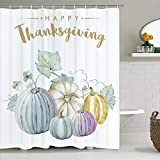 """WATERPROOF MATERIAL: Happy Thanksgiving Day shower curtain is made from high quality polyester fabric, which is comfy, eco-friendly and do not fade, waterproof and durable. THREE SIZES AVAIABLE: 70"""" L x 69""""W / 190cm x 175cm; 75""""L x 69""""W / 213cm x 175..."""
