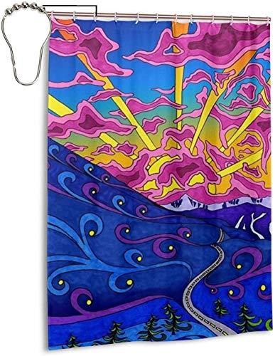 Psychedelic Colorful Linje Stars Sky Colorful Hotel kvalitet dusch gardin för badrum Duschar Parkett och Badkar Enkel installation Modern Hem Badrum Dekorationer 180 * 180cm