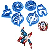 Anyana 6pcs set Superhero Captain America cartoon biscuit Cutter fondant pastry cookie impression stamp Cpt Iron Man Avengers Thor Flash Shield sugar bakery