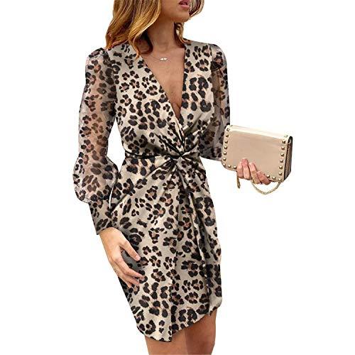 WangsCanis Abendkleid für Damen, V-Ausschnitt, lange Ärmel, transparent, mit Leopardenmuster, Blumenmuster, lässig, sexy, elegant S