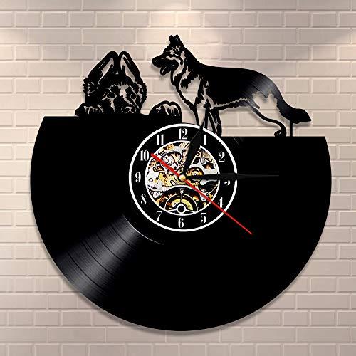 BFMBCHDJ Hunde zeitgenössische Wanduhr Home Decor Welpe Vinyl Wandkunst Verschiedene Hunderassen Vinyl Schallplatte Wanduhr Hund Haustier Liebhaber Geschenk