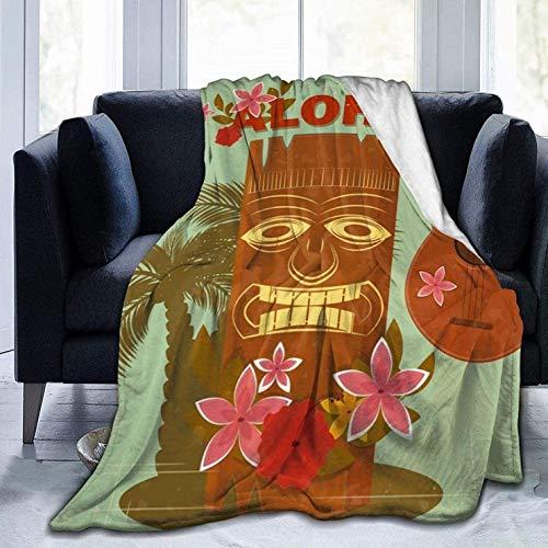 Manta de Tiro con Estampado Vintage de Hawaii marrón, Manta de Cama de Microfibra cálida, Ligera y Ultra Suave para sofá Cama, sofá de Oficina, 80x60 Pulgadas
