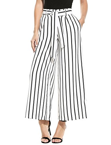 ZEAGOO Damen Sommerhose lang weite Hose gestreifte Hose Palazzo mit Eingrifftaschen Schlabberhose, Weiß - XL