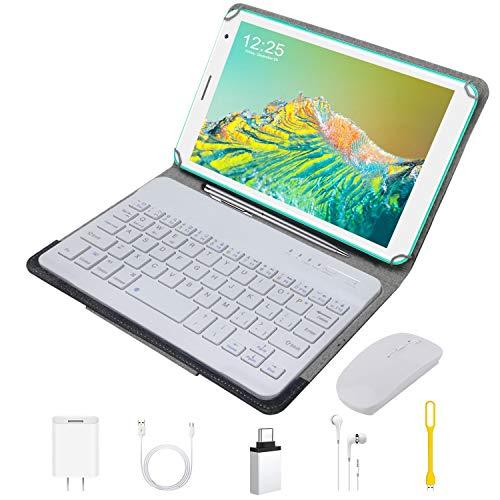 Tablet 8 Pollici con Wifi Offerte Android 10, Tablet PC Google GMS DUODUOGO E8+ 32GB ROM Fino a 128GB 3GB RAM Doppia Fotocamera Bluetooth OTG 5000mAh 1.6GHz Type-C (Standard + Tastiera e Mouse, Verde)