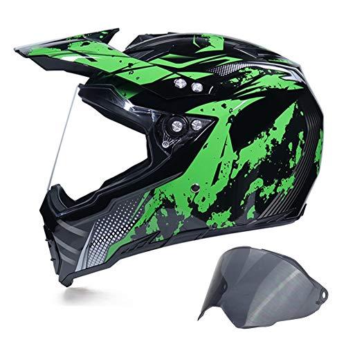MRDEAR Full Face Offroad Helm Herren Schwarz Grün Motocross Helm mit Visier (2 Stück, UV-Schutz) Motorradhelm Motorrad Crosshelm MTB Helm Downhill Enduro Quad, Einstellbare Belüftung,XL