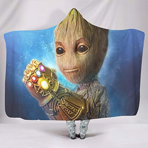OwlOwlfan Baby Groot Gauntlet 4k Hood Blanket Lightweight Cozy Microfiber Reversible Sofa Blanket Throw Fits Sofa Bed Couch Chair For Family White 152,4 x 203,2 cm