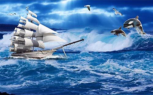Papel Pintado 3D Mural Navegación Ballena Azul Papel Tapiz Pared 3D Fotomural Moderno Wallpaper Salón Dormitorio Decoración,350X256cm