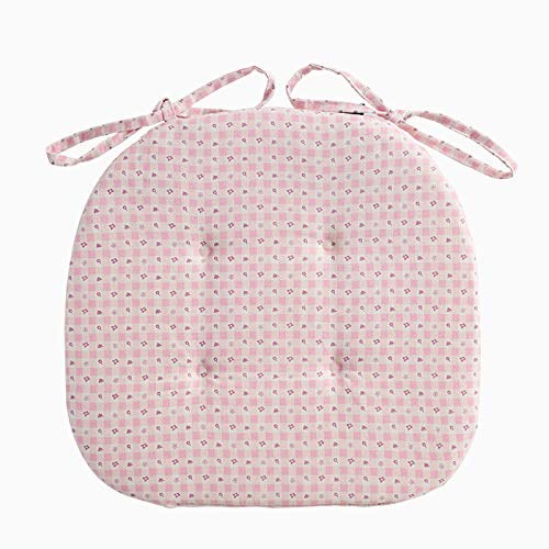 Mkuha Chair Seat Pads Cushion With Ties, Quilted Design, D-Shaped, Sponge Chair Pads for Garden Patio Kitchen Dining 42x40x2cm,Pink