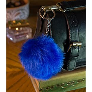 3 for2 Sale! *Steel Blue* 10cm Faux Vegan Fur ECO Pompom Keyring Keychain Handbag Charm Silver Chain Black Red Turquoise Furry Friends Decoration Dangle Cute Gift Present Soft Fluffy Fluff Ball Pokemon Style Stylish Unique Large Big Massive Oversized Trend Fuzzy Flossy SS15 Vintage Hipster (Steel Blue):Examen17result