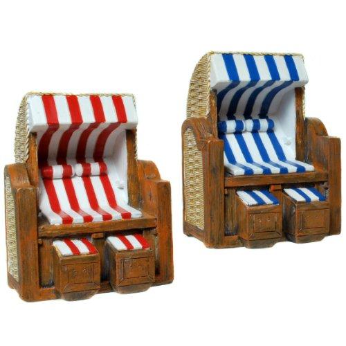 2 x Strandkorb als Deko in weiß/rot und weiß/blau