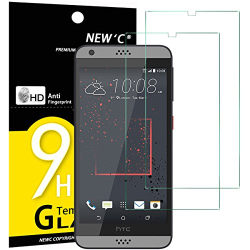 NEW'C Verre Trempé pour HTC Desire 530,[Pack de 2] Film Protection écran - Anti Rayures - sans Bulles d'air -Ultra Résistant (0,33mm HD Ultra Transparent) Dureté 9H Glass