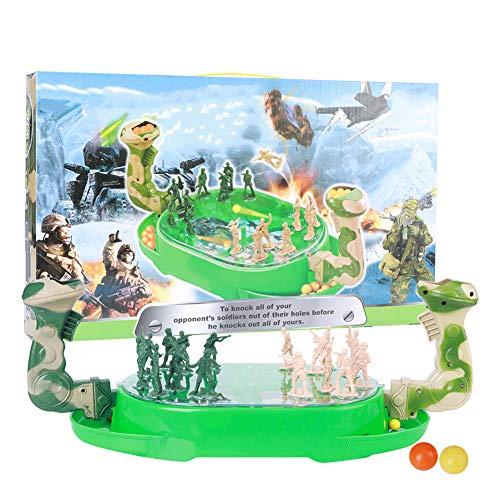 Juego de mesa de tiro de mármol para niños, juego de disparos de batalla interactivo para padres e hijos, regalo educativo(Soldado)