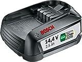 Bosch Home and Garden 1607A3500U - Batería de Litio de 14,4V 2,5Ah. Compatible con Herramientas de la Familia Power4All 14,4V, Negro