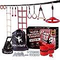 NinjaSafe Ninja Warrior Obstacle Course for Kids - Ninja Slackline 50' with 10 Obstacles for Backyard, Outdoor Playset Equipment Set for Girls & Boys with Climbing Net & Ladder, Wheel, & Monkey Bars by NinjaSafe