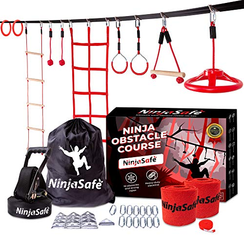 Ninja Warrior Obstacle Course for Kids Backyard - Durable 10 Obstacles and 50' Ninja Slackline - Outdoor Playset Equipment for Girls & Boys with Climbing Net & Ladder, Wheel, Gymnastics & Monkey Bars