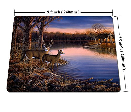 Smooffly Deer Gaming Mouse pad,Deers at The Ege of The River Non-Slip Thick Rubber Large Mousepad Photo #5