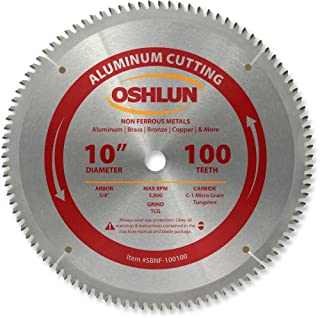 Oshlun SBNF-100100 10-Inch 100 Tooth TCG Saw Blade with 5/8-Inch Arbor for Aluminum and..