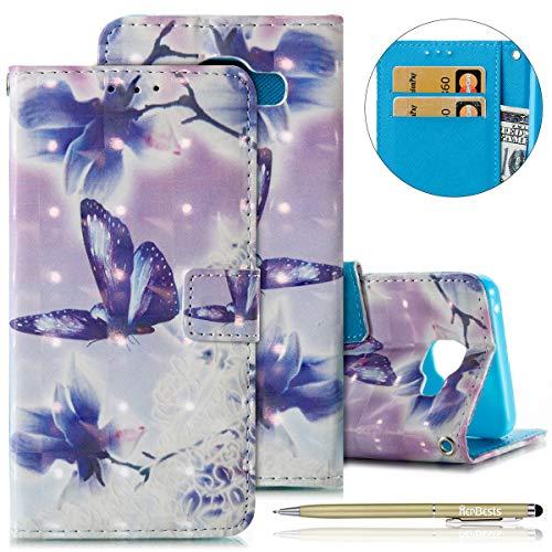 Herbests Cover Samsung Galaxy A5 2016 in Pelle, Samsung Galaxy A5 2016 Custodia Flip Stand Case Libro Wallet Copertura - 3D Disegni Glitter Elegante Colorate Dipinto Cover Chiusura Magnetica Case