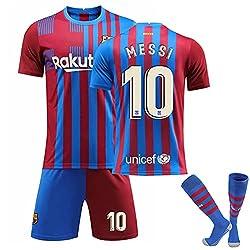 メッシ サッカーユニフォーム バルセロナ ホーム FC 背番号10、大人用と子供用サッカーTシャツ+ショーツスーツ、サッカーユニフォーム 子供、ファミリースタジアムスウェットシャツ、サッカー ユニフォーム キッズ (Color : 靴下を持っている, Size : 28)