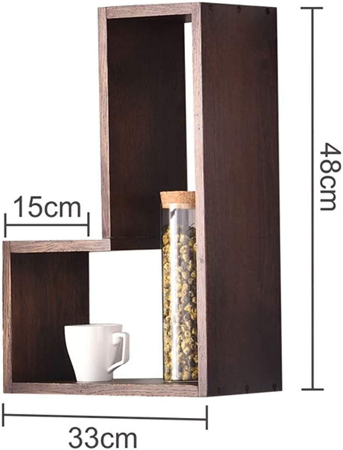 YNN L-Shaped Combination Solid Wood Wall Shelf Living Room Bedroom Wall Decoration Partition Bookcase (color   02, Size   33  48cm)