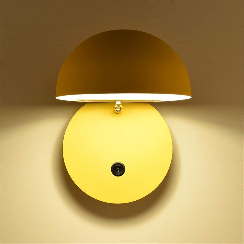 Nordic Postmodern Einfache Kreative Macaron Drehbare Mit schalter Wandleuchte Leuchte Europischen stil Dekoration wohnzimmer Schlafzimmer Nachttischlampe,Gelb,Switch