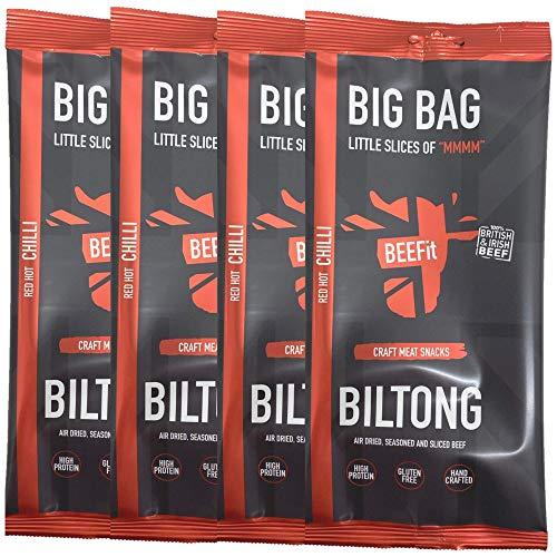 BEEFit Snacks 1kg (4x250g) Chili Biltong, Hohes Protein, Gesund, Wenig Zucker, Nicht Beef Jerky