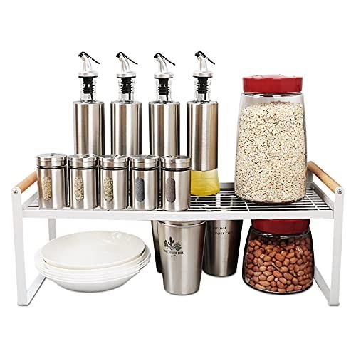 Derkiewn Scaffale portaoggetti da cucina, ripiano multifunzionale impilabile, armadio dispensa portaspezie in metallo per piatti, piatti, bottiglie di condimento