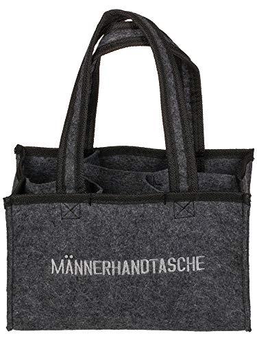 MIK Funshopping Flaschenträger Männertasche Männerhandtasche mit 6 Fächer (Männerhandtasche dunkelgrau)