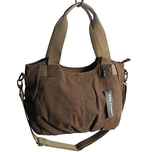Lässige Canvas Tasche von Jennifer Jones - Damentasche, Shopper, Umhängetasche, VintageHandtasche, Schultertasche - Baumwollstoff Segelstoff (Braun) - präsentiert von ZMOKA®