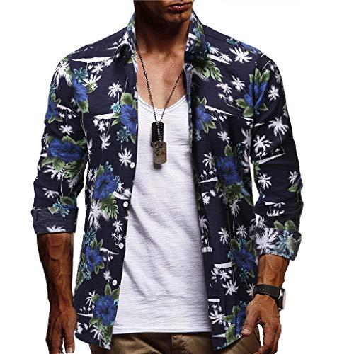Yowablo Herren Shirt Freizeithemd Bluse Mode Casual Button Hawaii Print Strand Kurzarm Kurzes Trockentop (M,1Dunkelblau)
