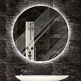 LBSI Espejo Baño Led Redondo Antivaho Redondo, Espejo Pared con Función de Atenuación, Almohadilla Antivaho y Interruptor de Sensor Táctil