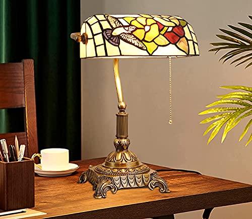 Tiffany Style Banker Table Lámpara Mariposa Art Deco Lámpara De Oficina De Escritorio De Vidrio De Vidrio para Estudio Oficina De Estudio Dormitorio Dormitorio Decorativo 11 Pulgadas