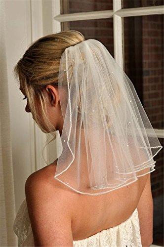 Kercisbeauty Brautschmuck, kurzer Schleier, einlagig und aus Spitze, mit Kamm und Haaraccessoires